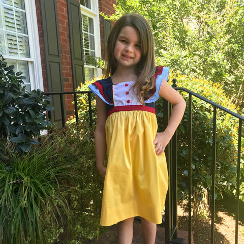 Three apple embroidered princess dress inspired by Snow White