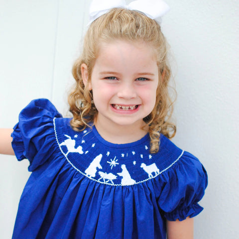 Blue Nativity Christmas Smocked Bishop Dress