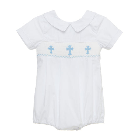 White with Blue Crosses Smocked Bubble
