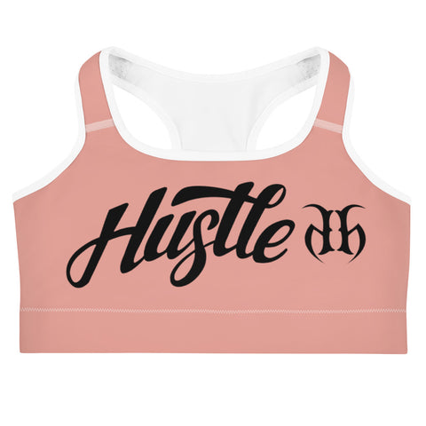 Hustle Harder Signature (Black) Rose Gold Sports Bra