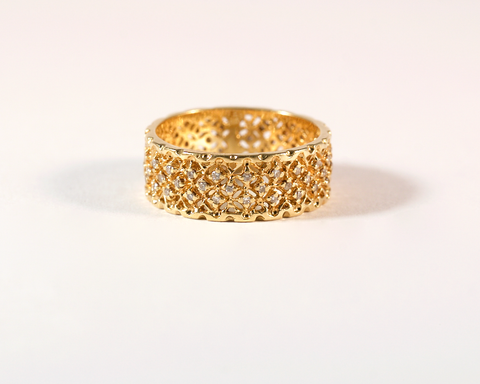 GM383-1 ICYMI Bague bandeau dentelle pavée de diamants - Gold and diamond lace ring