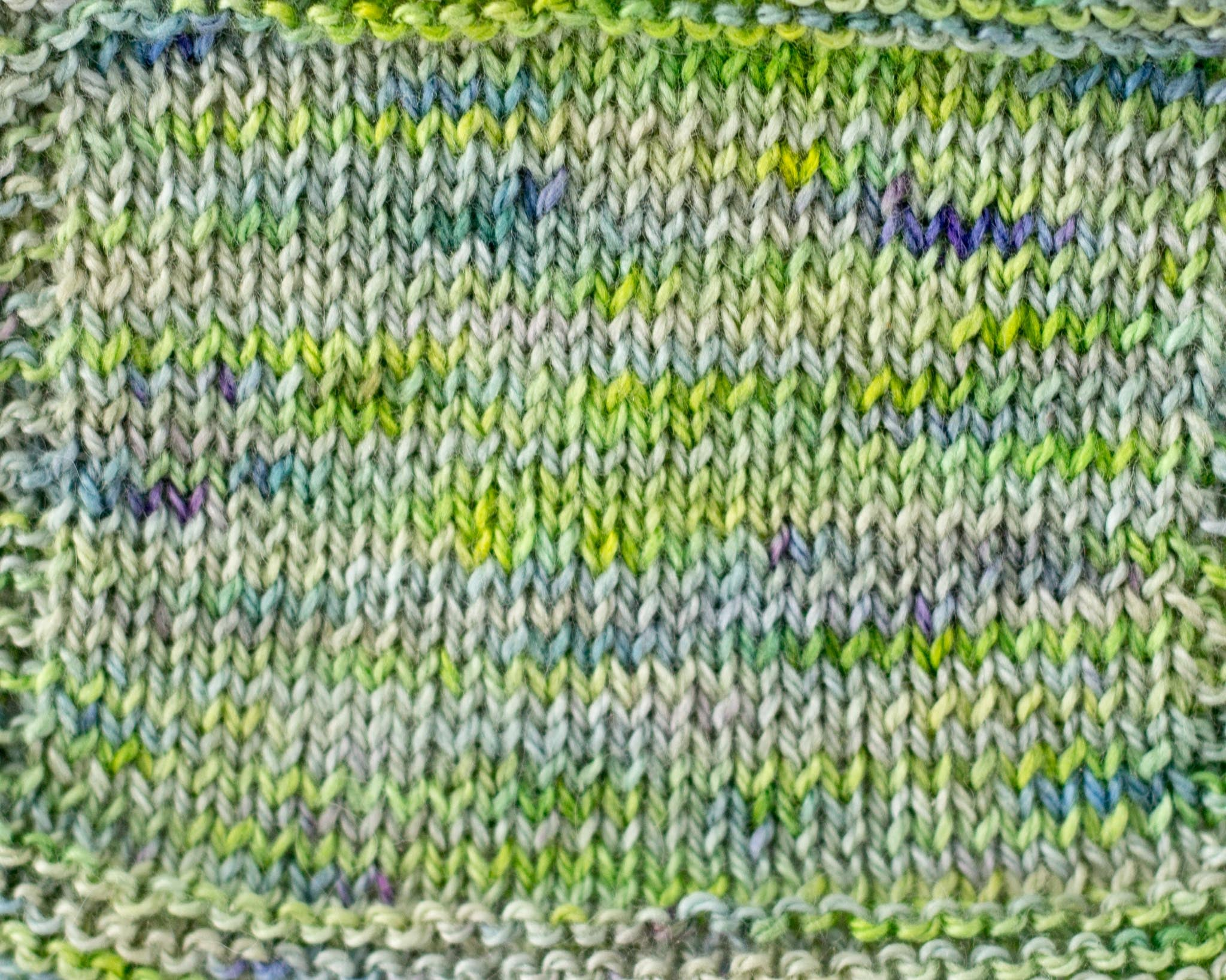 Organic & Fair Trade Cotton Yarn-Green, Purple, and White Swatch