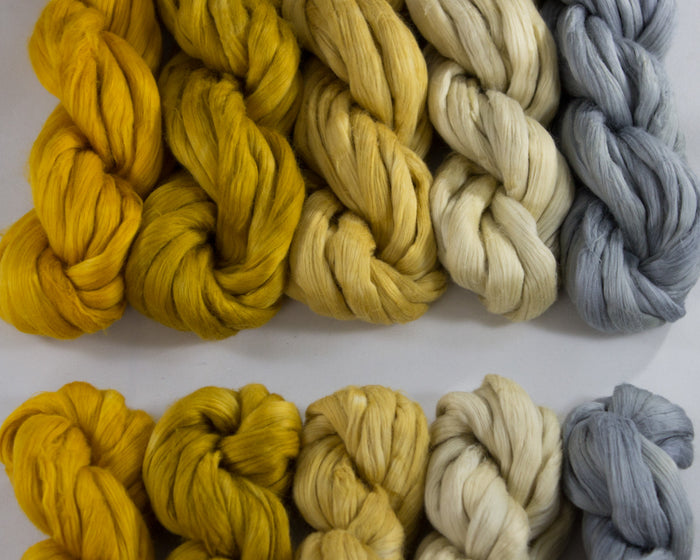 Cotton Spinning Fiber - orange, gold, and grey
