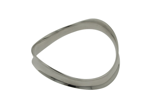 Inverted Curved Bangle, Sterling Silver