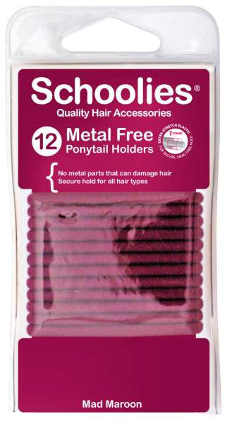 Schoolies Hair Accessories Maroon - Metal Free Hair Ties (12)