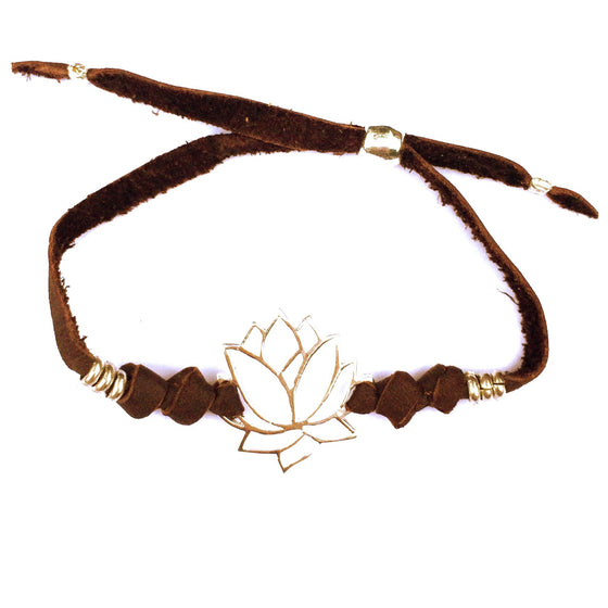 silver Lotus charm bracelet on suede leather - Heart Mala