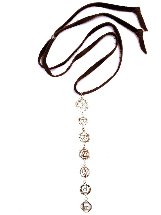 Sterling Silver yoga jewellery Chakra Symbol Necklace - Heart Mala