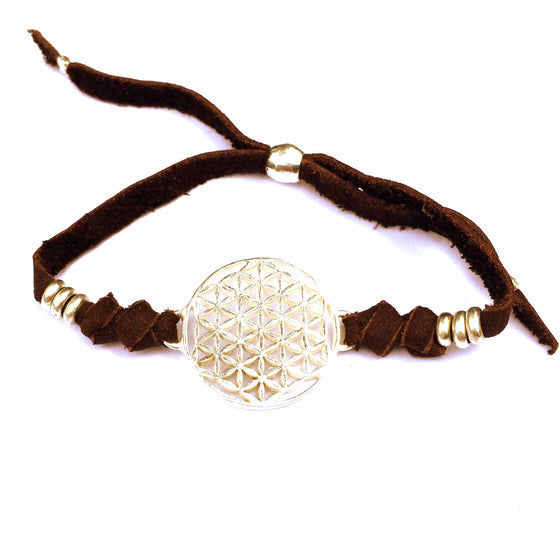 silver Flower Of Life sacred geometry charm bracelet on suede leather - Heart Mala