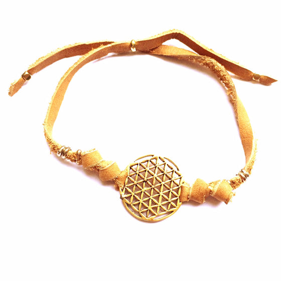 brass Flower Of Life sacred geometry charm bracelet on suede leather - Heart Mala