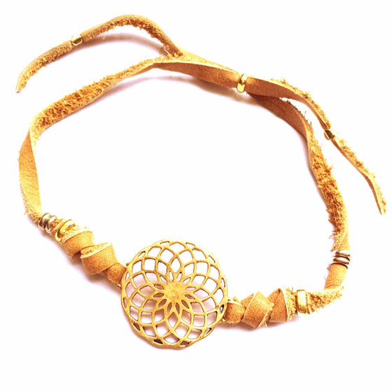 brass Sunflower Sacred Geometry charm bracelet on suede leather - Heart Mala