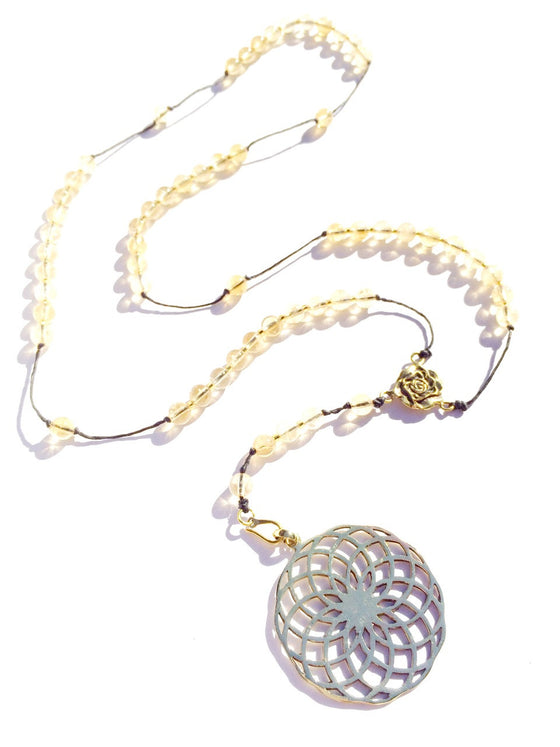 Citrine Rosary beads, brass Sunflower pendant handmade gemstone necklace