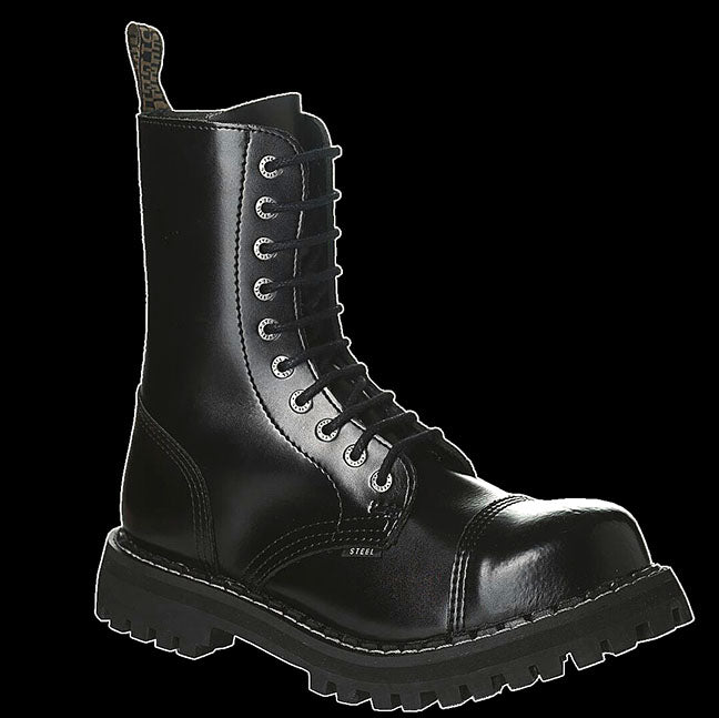 STEEL - 10 Eyelet Black Steel-Toe Boot
