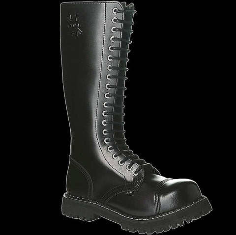 STEEL - 20 Eyelet Black Steel-Toe Boot