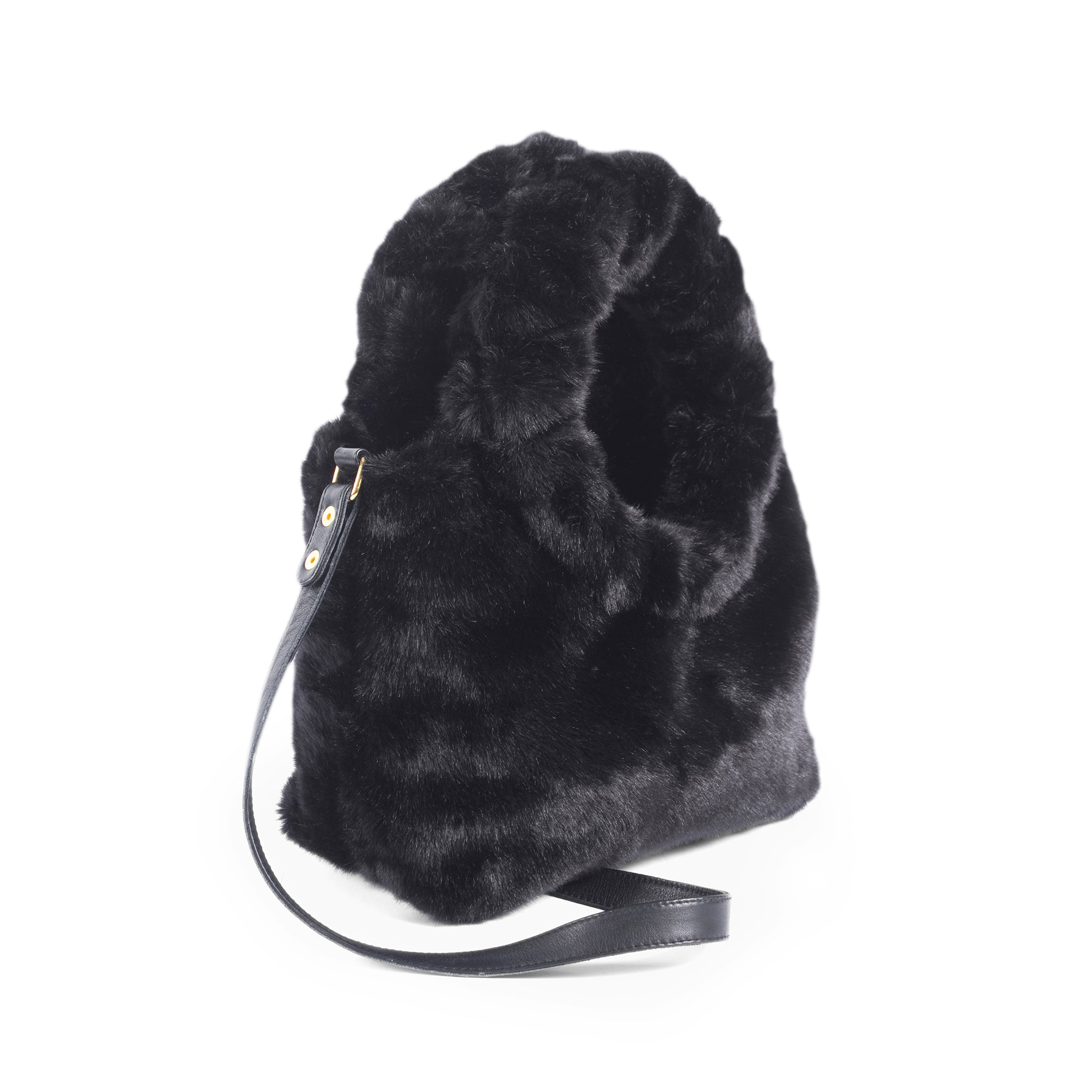 Circle Top Handle Fur Crossbody Small Bag