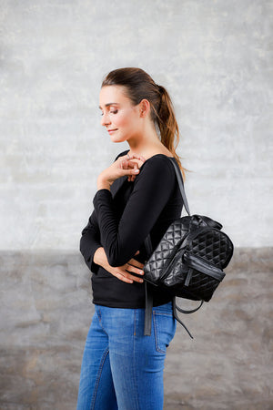Aida-Quilted Genuine Leather Mini Backpack