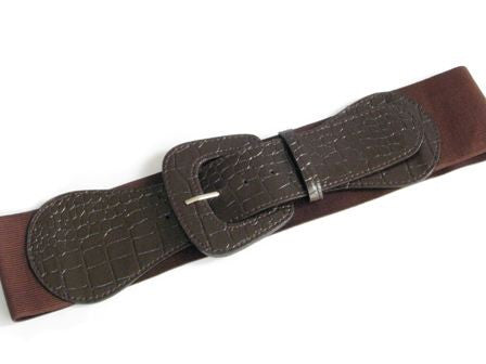 Wide Faux Croc Elastic Belt