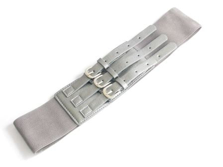 Dark Gray 3-Buckle Elastic Belt