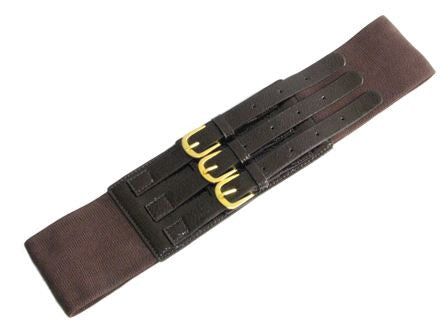 Chocolate Brown 3-Buckle Elastic Belt