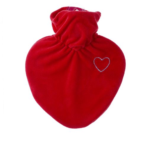 1 Litre Heart Shaped Hot Water Bottle with Velvet Heart Cover (rubberless)