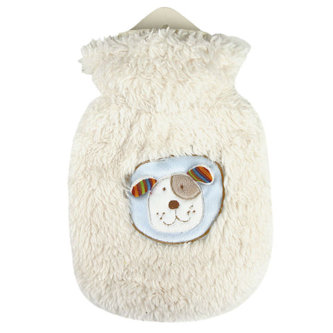 0.8 Litre Sanger Hot Water Bottle with Fluffy Dog Cover