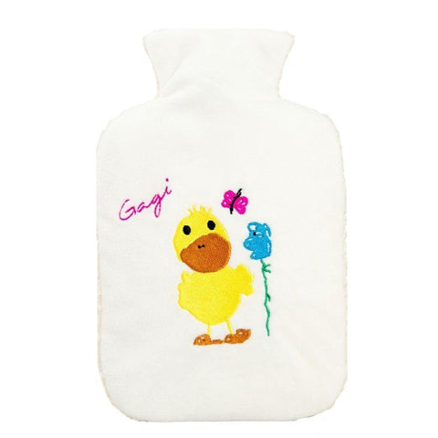 "0.8 litre ""Eco-Sustainable"" Hot Water Bottle with Duck Fluffy Cover (rubberless)"
