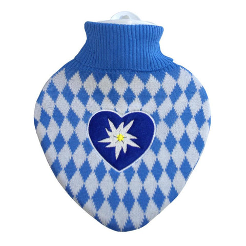 1 Litre Heart Shaped Hot Water Bottle with Knitted Blue and White Bavaria Cover (rubberless)