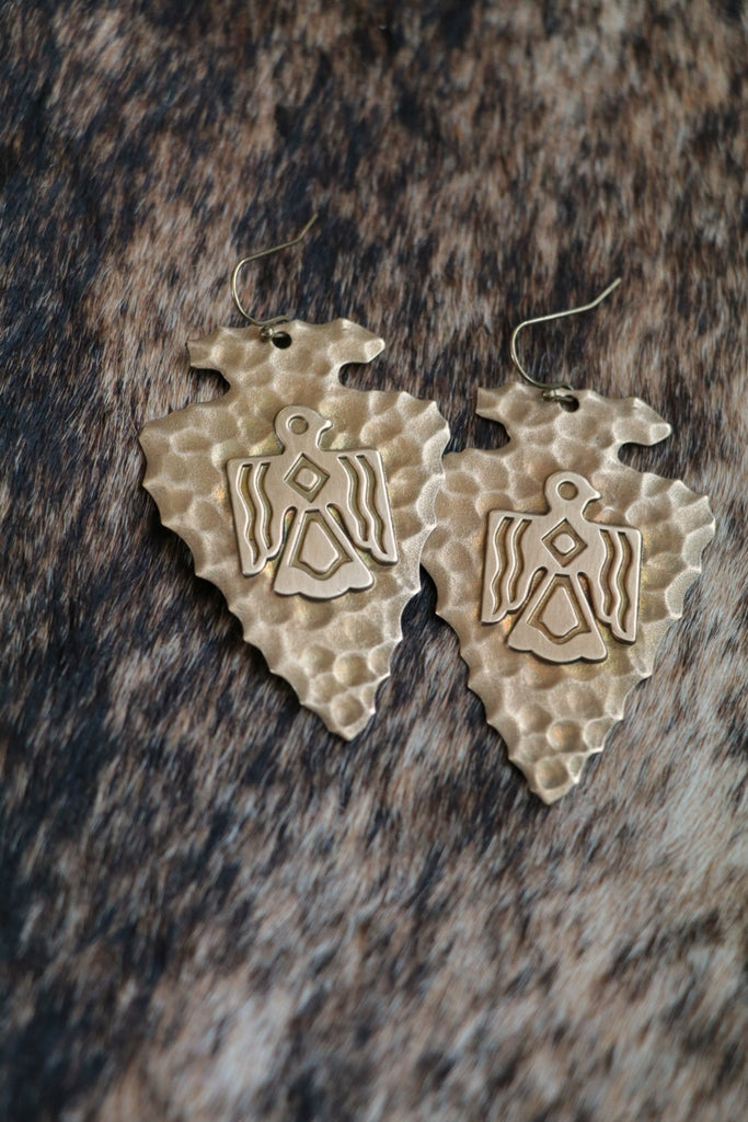 Brass Arrowhead Thunderbird Western Earrings - Cowgirl Relics