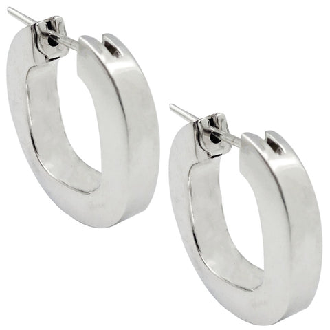 18ct White Gold 750 Stamped Quality Smooth Medium Size Ladies Hoop Earrings 5.1g