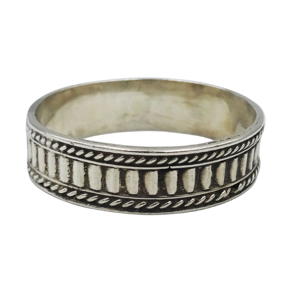 925 Sterling Silver Fancy Rope Design Mens Ring Size U