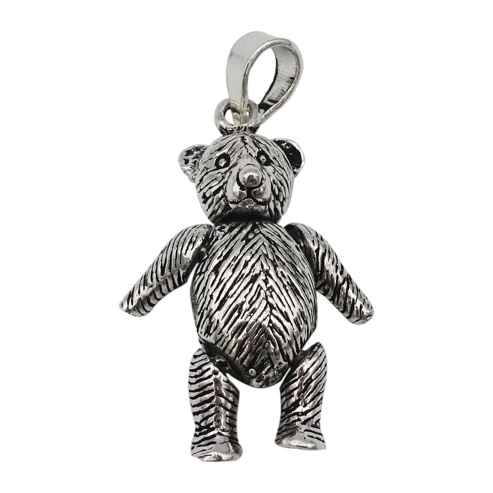 925 Sterling Silver Large Jointed Teddy Bear Pendant 8.3g