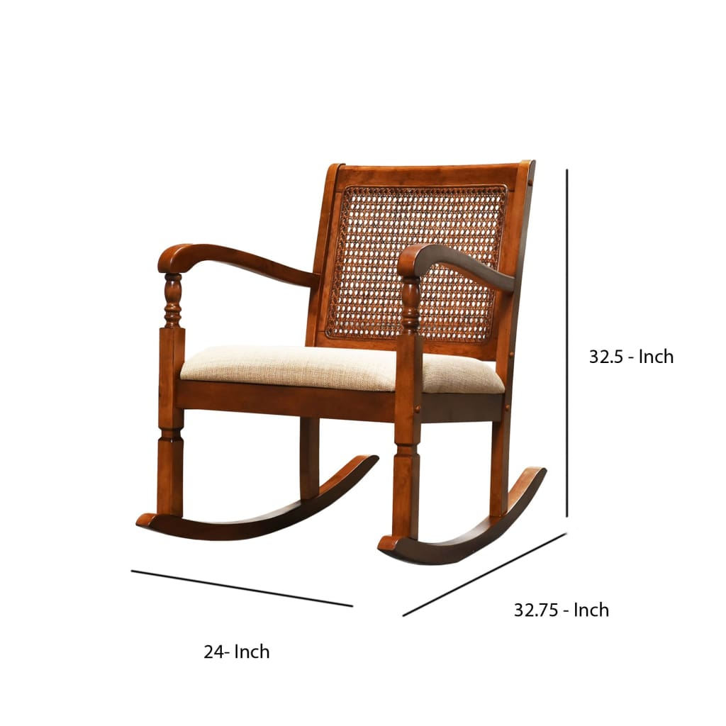 Wooden Rocking Chair with Mesh Design Back and Fabric Upholstered Seat, Brown and Beige - BM196574