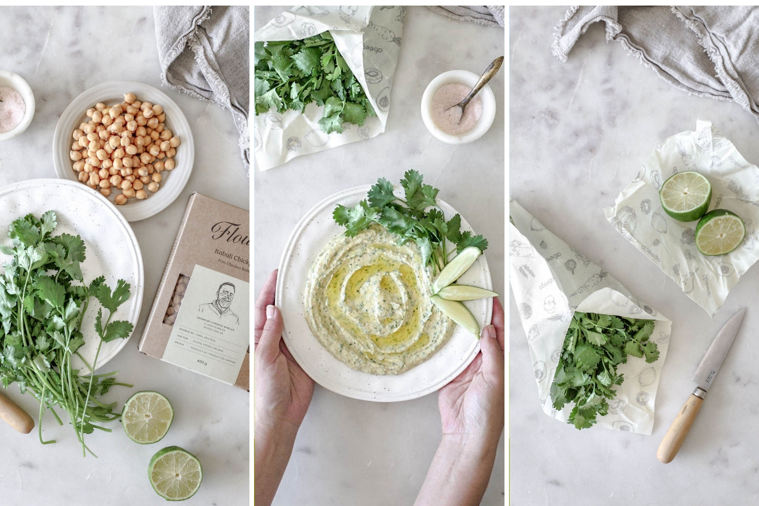 Keep hummus fresh with Abeego beeswax wraps | Keep Cilantro Alive