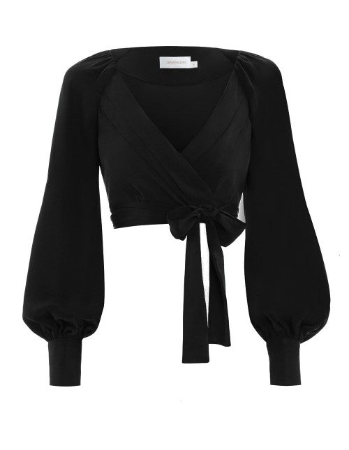Wrap Blouse - BLACK