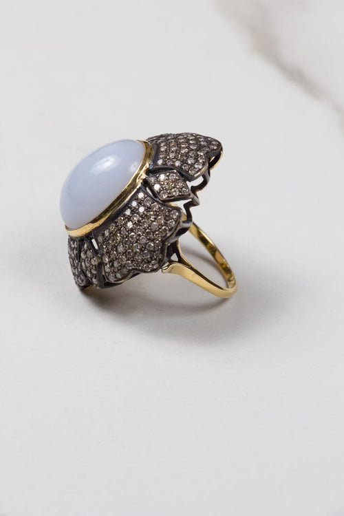 Calcedonia & Diamond Pave Ring