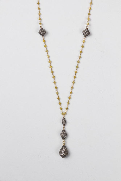 Vintage Yellow Diamond Necklace w/5 pave Diamond Pendants