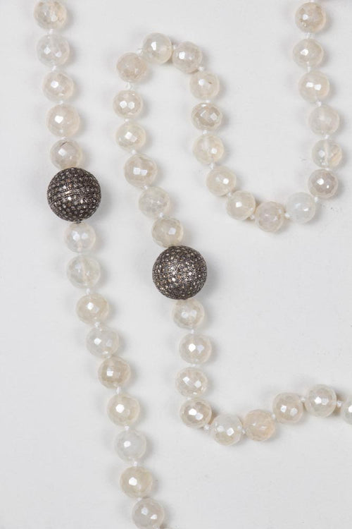 White Stones With 2 Diamonds Balls Necklace
