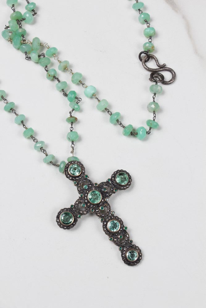 Antique Diamond and Emeralds Cross