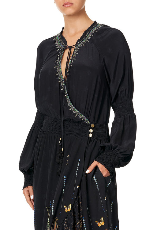 Blouson Sleeve Wrap Dress