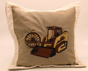 Embroidered Pillow Farm Scene