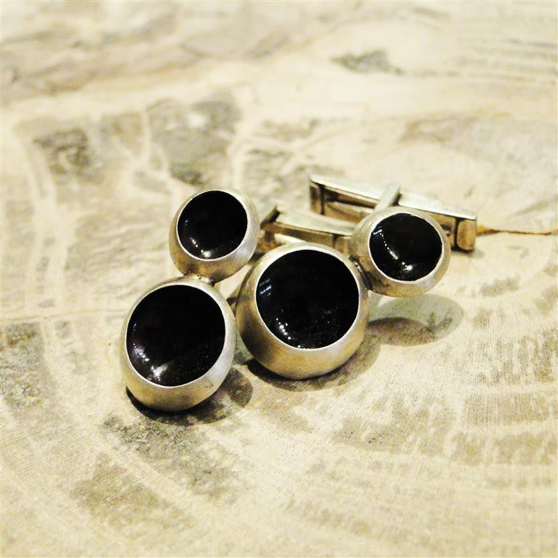 Double Eddy Indigo Sterling Silver Cufflinks