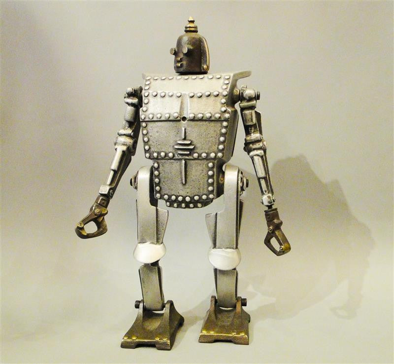 Cast Bronze and Aluminum Robot Coin Bank