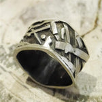 Square Fused Sterling Silver Bamboo Ring