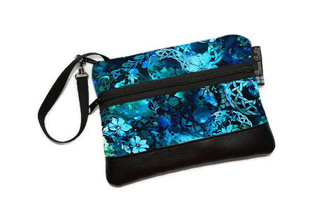 Long Zip Phone Bag - Faux Leather Accent - Cross Body Option - Emerald City Fabric