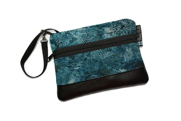 Long Zip Phone Bag - Faux Leather Accent - Cross Body Option - Serenity Fabric