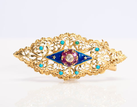 Antique Gold, Diamond, Ruby, and Turquoise Brooch/Pendant
