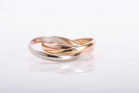 18k Tri-Tone Rolling Band Ring Size 6