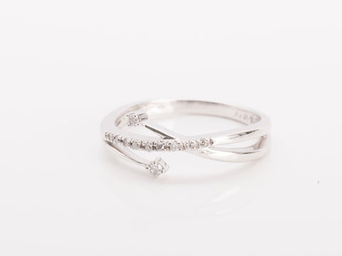 Trendy 14k White Gold Diamond Crossover Ring