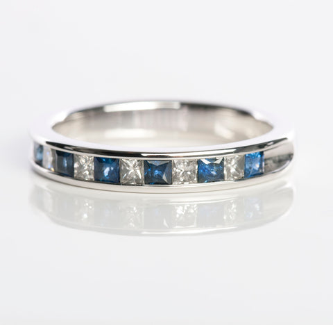 14KW Ladies Princess Cut Diamond and Sapphire Band