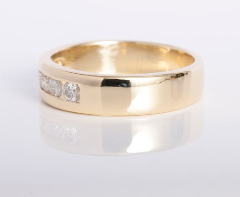 Men's Yellow Gold Diamond Engagement Band