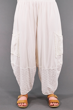 3254-Patch Pocket Eyelet Pant-Natural/White-U